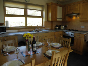 Three bedroom lodge kitchen/dining at Bracken Lodges Self-Catering Holiday Loch Tay Kenmore Killin Perthshire