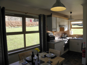 Two bedroom lodge kitchen/dining area at Bracken Lodges Self-Catering Holiday Loch Tay Kenmore Killin Perthshire