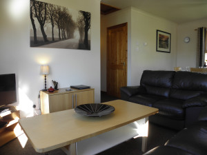 Two bedroom lodge lounge area at Bracken Lodges Self-Catering Holiday Loch Tay Kenmore Killin Perthshire